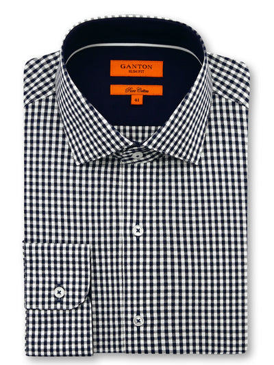 Navy White Check Slim Fit Ken Pure Cotton Shirt