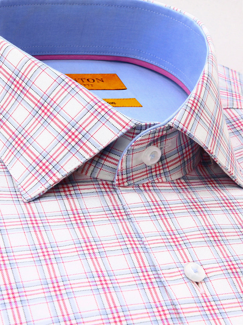 Red White Blue Check Slim Fit Liam Pure Cotton Shirt
