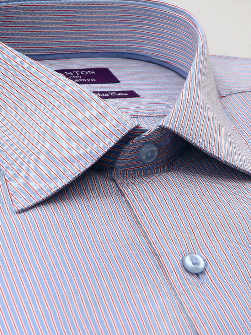 Purple Blue Red Stripe Tailored Fit Joshua Wash Wear Swiss Cotton Shirt