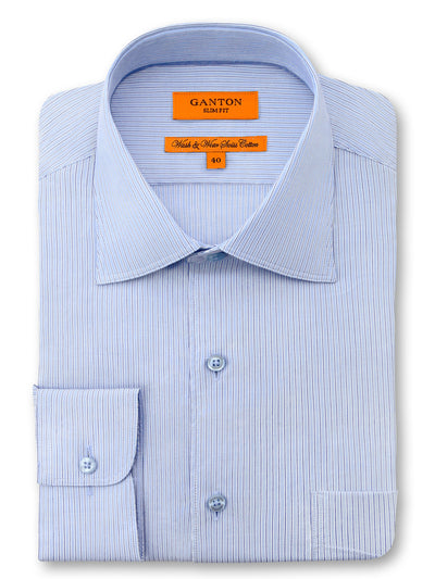 Blue Stripe Slim Fit Lucas Wash Wear Swiss Cotton Shirt