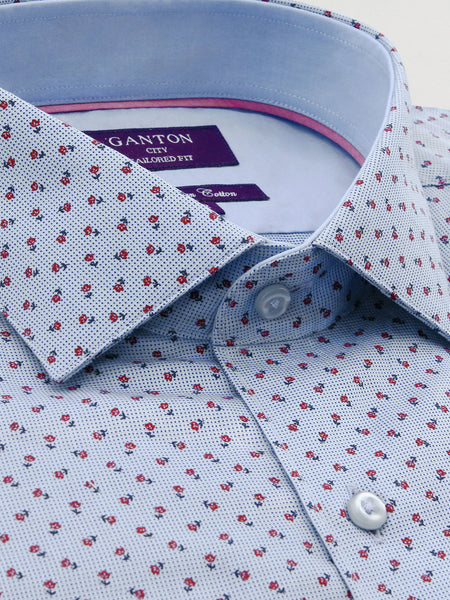 Blue Red Print Tailored Fit Luis Egyptian Cotton Shirt