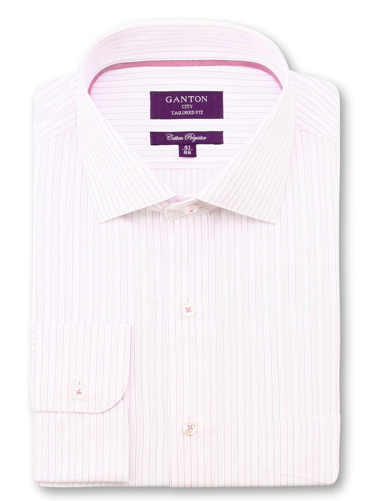 Light Pink White Stripe Tailored Fit Lawrence Cotton Polyester Shirt