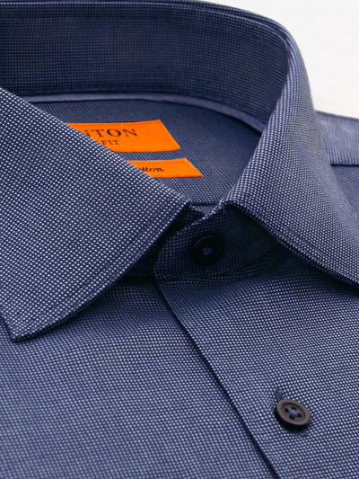 Navy Check Textured Slim Fit Ivan Easy Iron Cotton Shirt