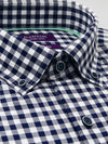 Navy White Check Tailored Fit Sylas Pure Cotton Shirt