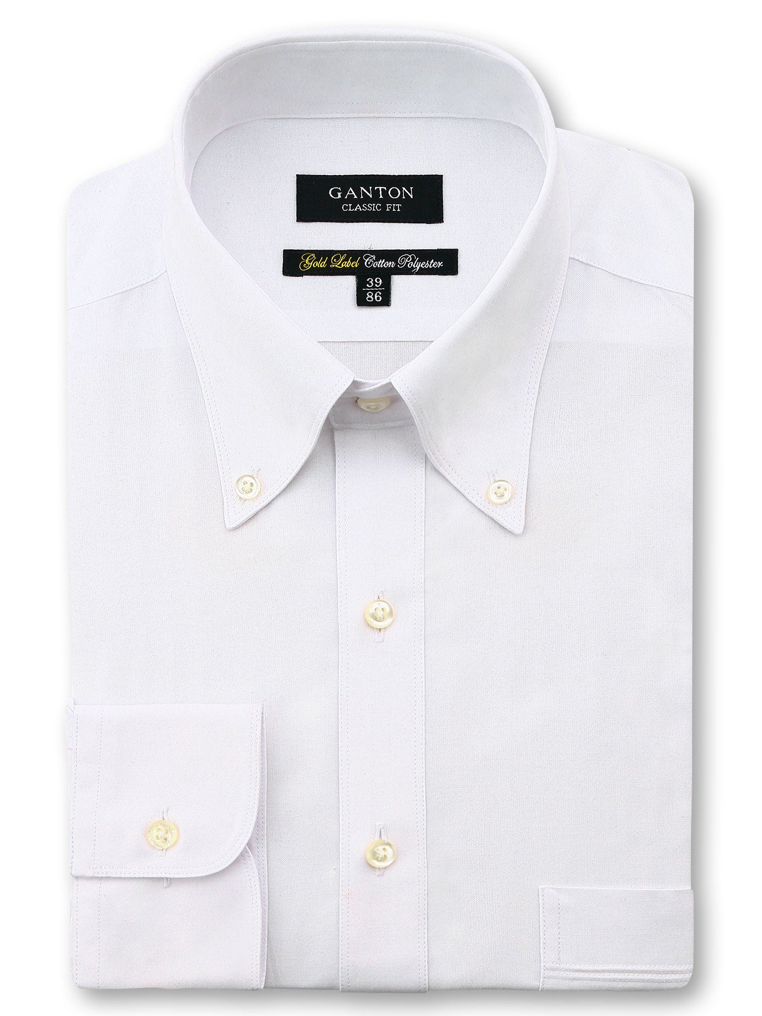 All White Gold Label Classic Fit Button Down Cotton Polyester Shirt
