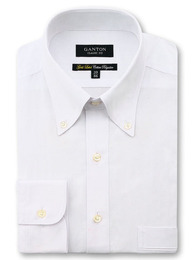 White Gold Label Classic Fit Button Down Cotton Polyester Shirt