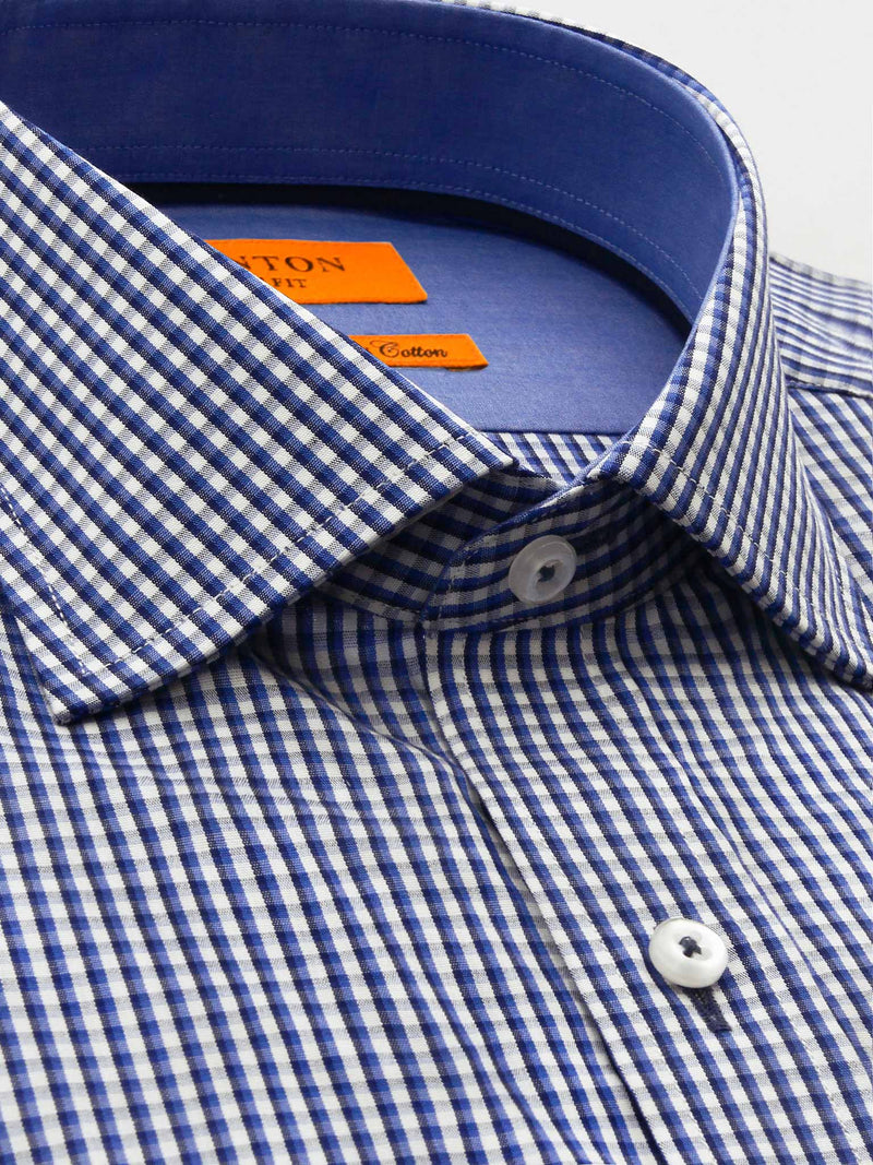 Blue White Check Slim Fit Ash Wash and Wear Swiss Cotton Shirt
