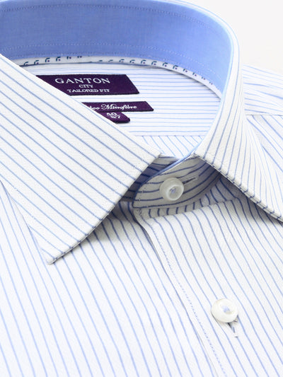 Blue White Stripe Tailored Fit Coleman Bamboo Microfibre Shirt