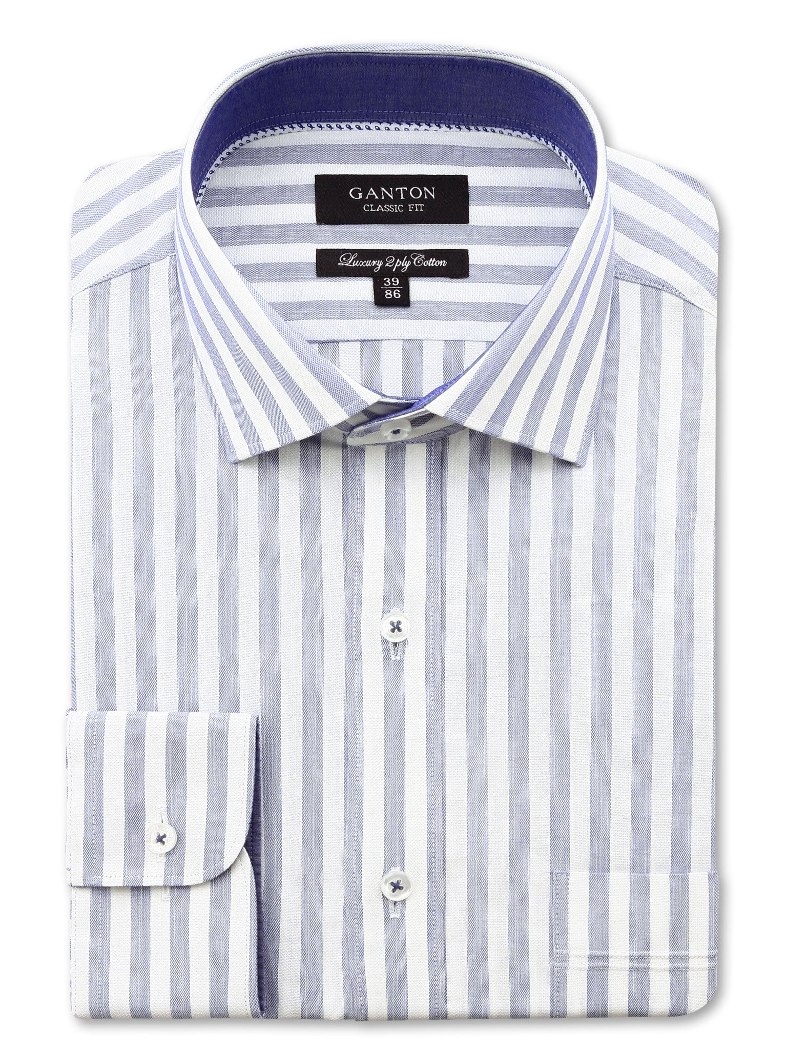 White Navy Stripe Classic Fit Gordon Luxury 2 Ply Cotton Shirt