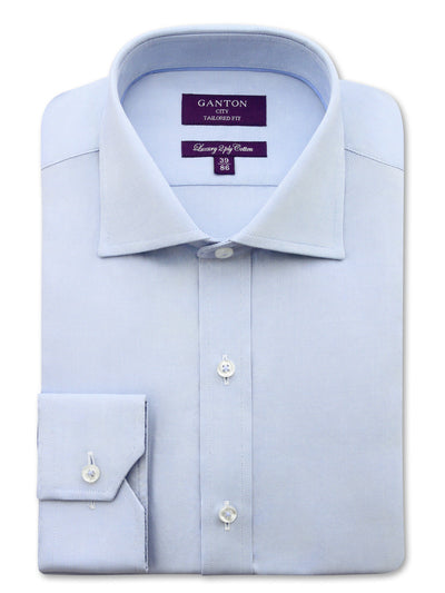 Blue Oxford Tailored Fit Terrance Luxury 2 Ply Cotton Shirt