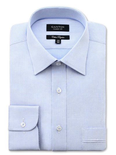 Blue Textured Classic Fit Jerone Cotton Polyester Shirt