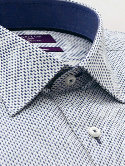 White Navy Fish Print Tailored Fit Logan Easy Iron Pure Cotton Shirt