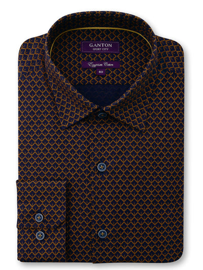 Brown Print Tailored Fit Carvell Egyptian Cotton Shirt