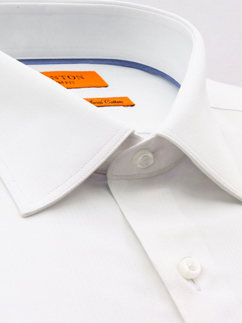 White Textured Slim Fit Business Con Easy Iron Shirt