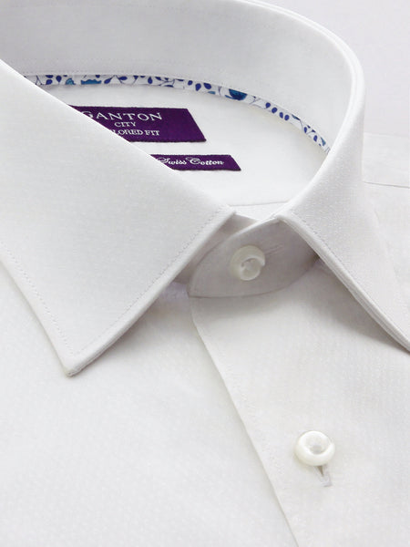 White Textured Tailored Fit Business Johnson Easy Iron Shirt