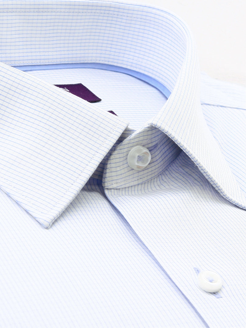 Blue White Check Tailored Fit Desmond Cotton Polyester Shirt