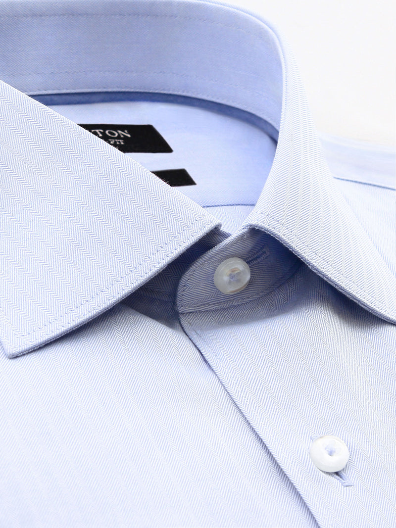 Light Blue Textured Classic Fit Mark Cotton Polyester Shirt