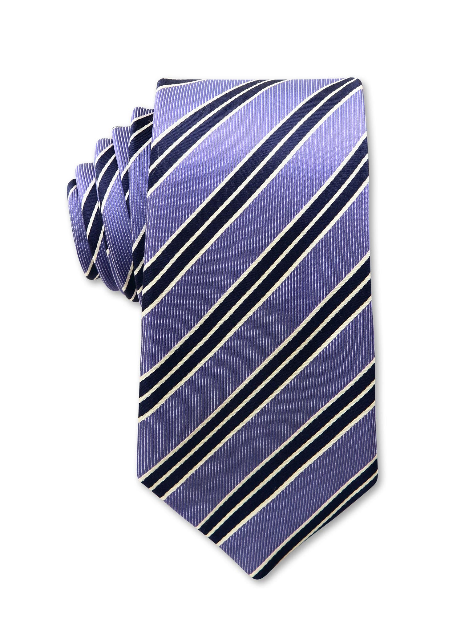Purple Navy Diagonal Stripe 7cm Les Luxury Silk Tie Made in Australia