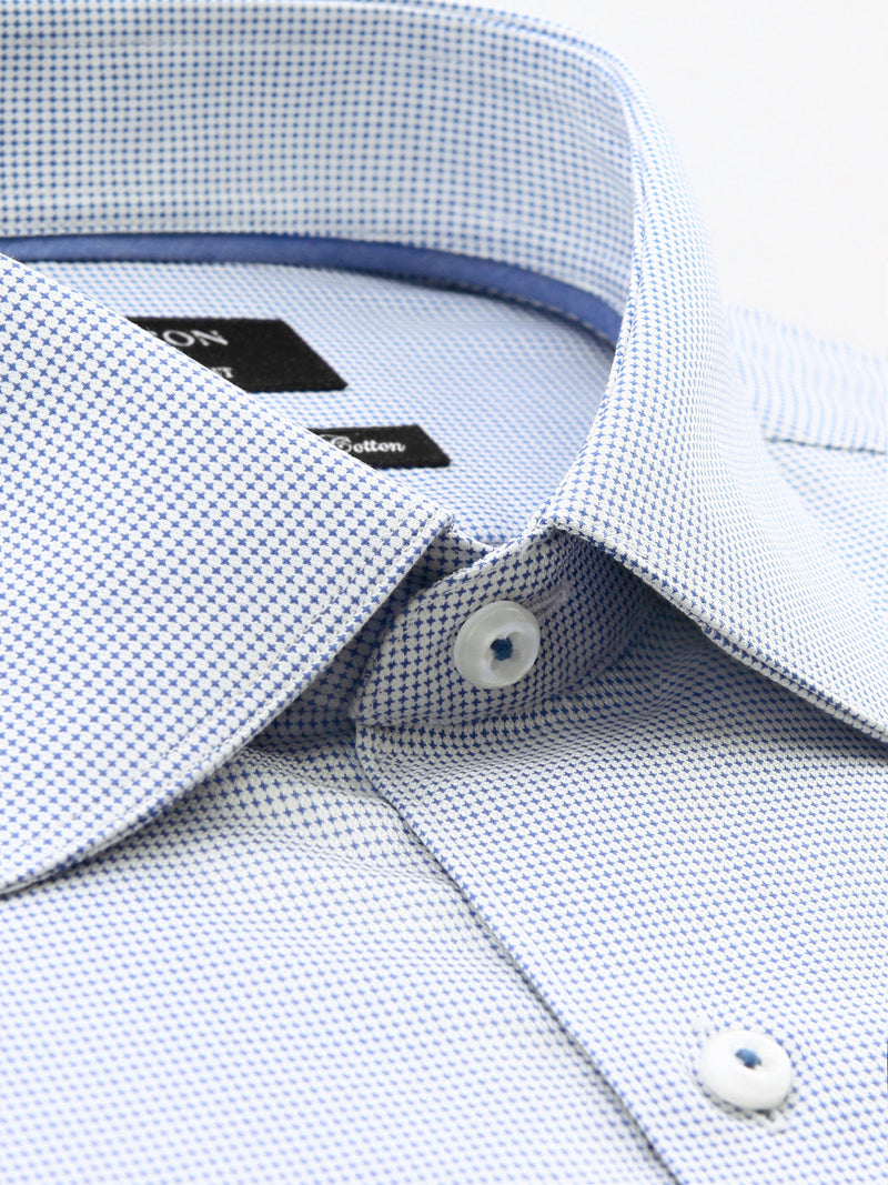 Blue Textured Classic Fit Colin Wash Wear Swiss Cotton Shirt