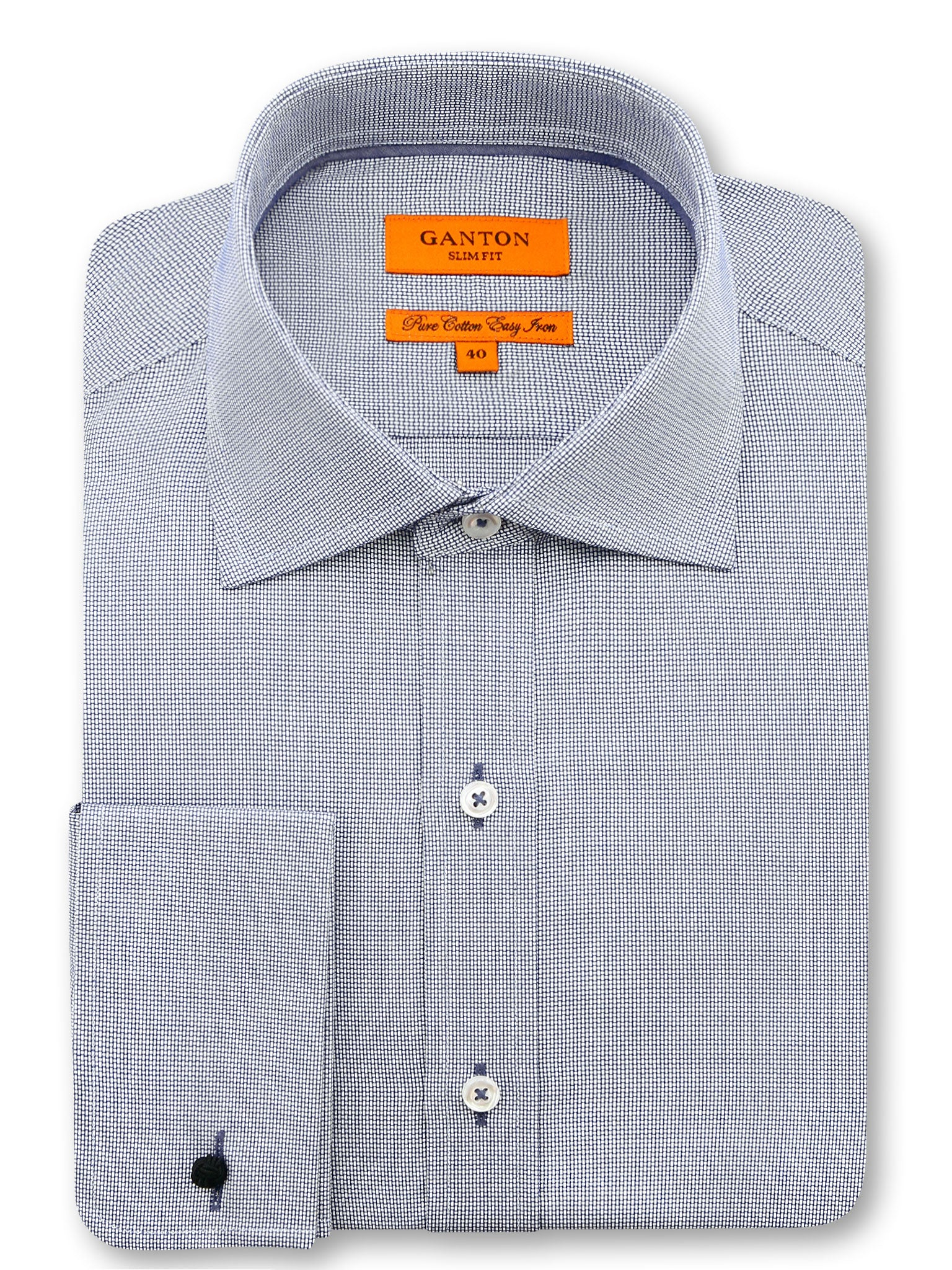Navy White Textured Slim Fit Jonah Easy Iron Cotton Shirt