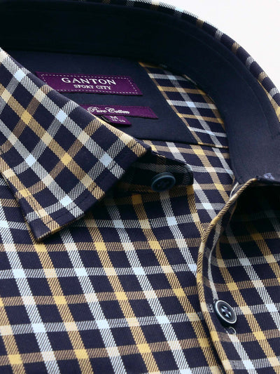 Navy Brown Check Tailored Fit Cameron Cotton Shirt