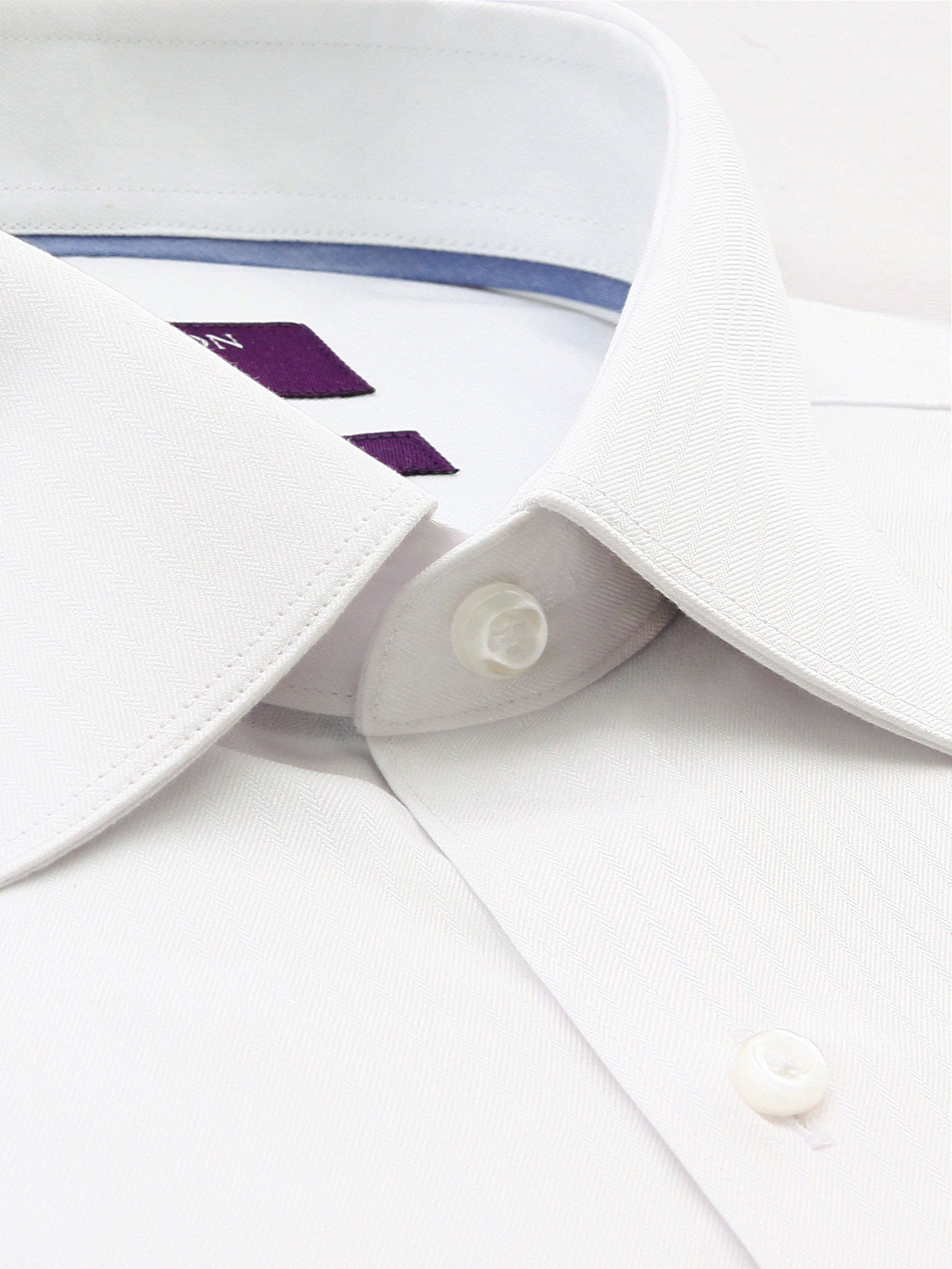 White Textured Tailored Fit Wayne Cotton Polyester Shirt