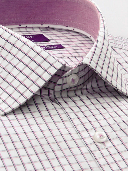 Pink White Check Tailored Fit Tobias Was Wear Swiss Cotton Shirt
