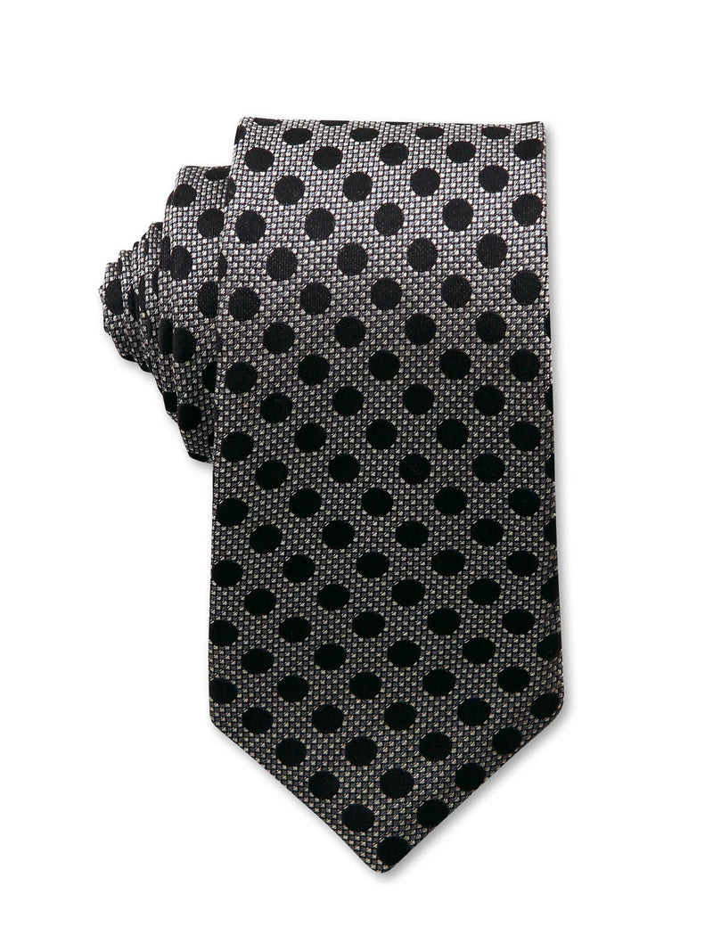 Grey Black Spot 7cm Bertie Luxury Silk Tie Made in Australia