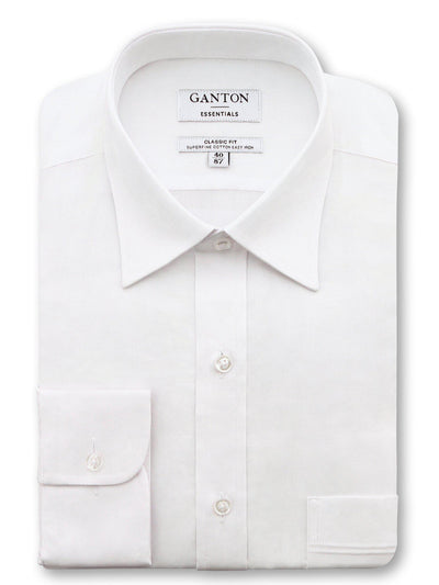 White Classic Fit Edward Easy Iron Superfine Cotton Essentials Shirt