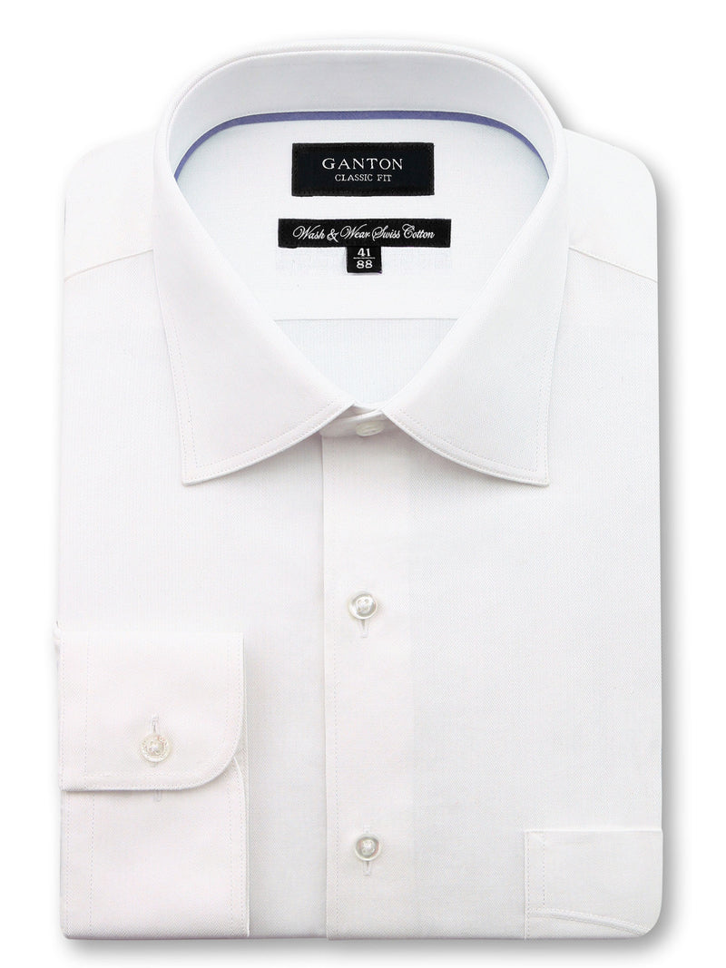 White Textured Classic Fit Patrick Wash Wear Swiss Cotton Shirt