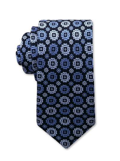 Navy Floral Spot Print 7cm Brett Luxury Silk Tie Made in Australia