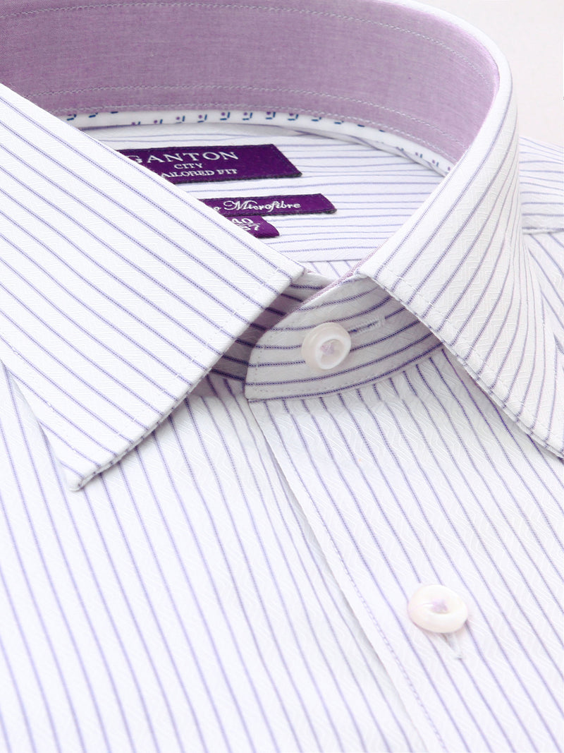 Lilac White Stripe Tailored Fit Coleman Bamboo Microfibre Shirt