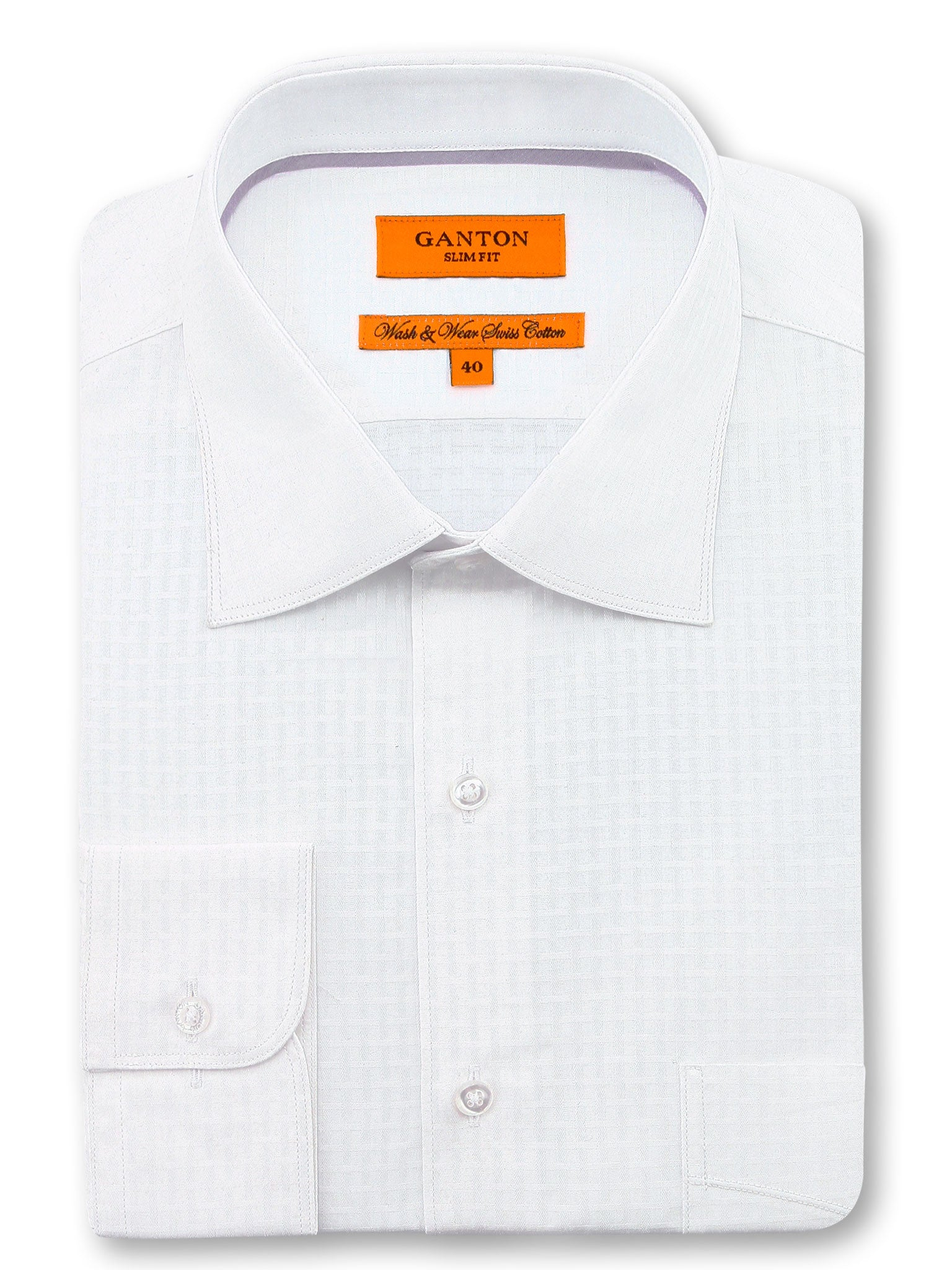 White Textured Slim Fit Zane Easy Iron Swiss Cotton Shirt