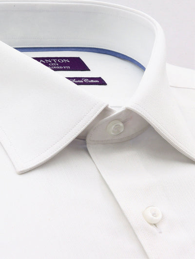 White Textured Tailored Fit William Wash Wear Swiss Cotton  Shirt