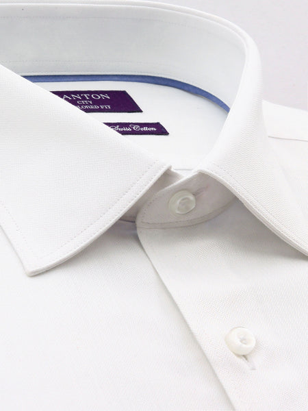 All White Textured Tailored Fit William Wash Wear Swiss Cotton  Shirt