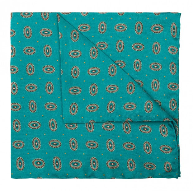 Teal Geometric Dot Silk Pocket Square