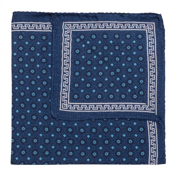 Blue Geometric Dot Silk Pocket Square
