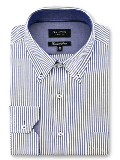 Navy White Stripe Classic Fit Jason Luxury 2 Ply Cotton Shirt