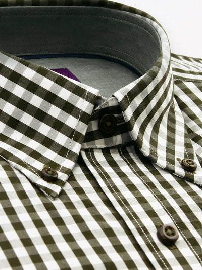 Green Check Tailored Fit Toby Easy Iron Cotton Shirt