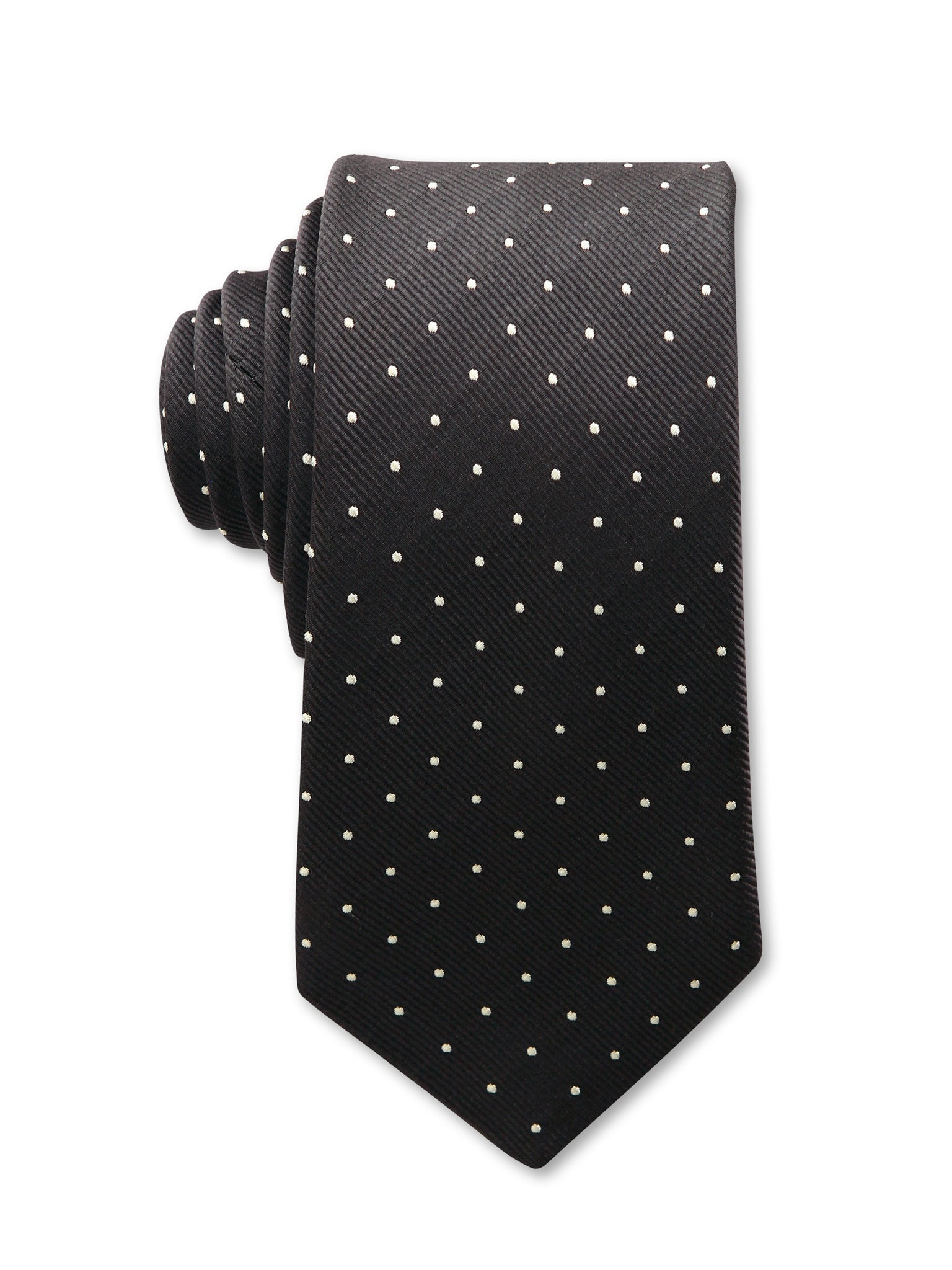 Black White Spot 7cm Owen Luxury Silk Tie Made in Australia