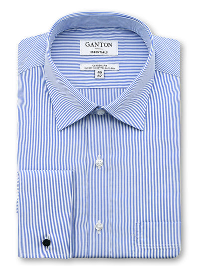 Mid Blue White Stripe Classic Fit Ernie Easy Iron Superfine Cotton Essentials Shirt