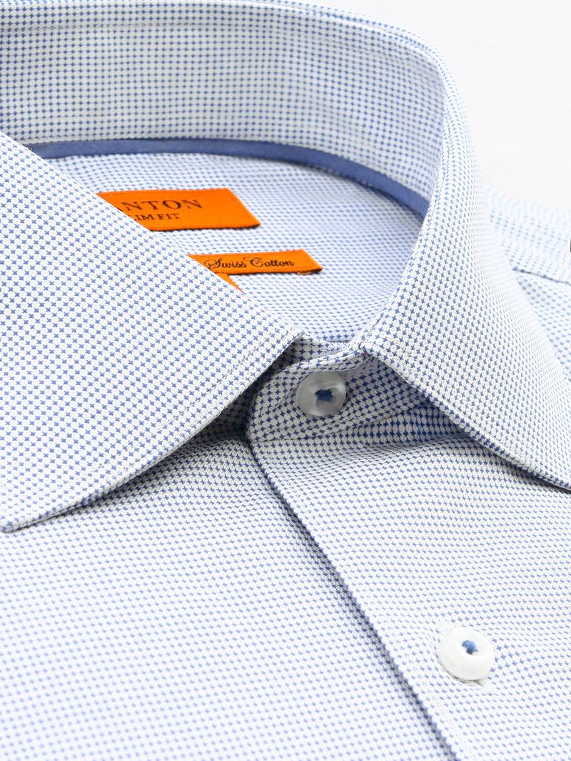 White Blue Textured Slim Fit Preston Wash & Wear Easy Iron Cotton Shirt