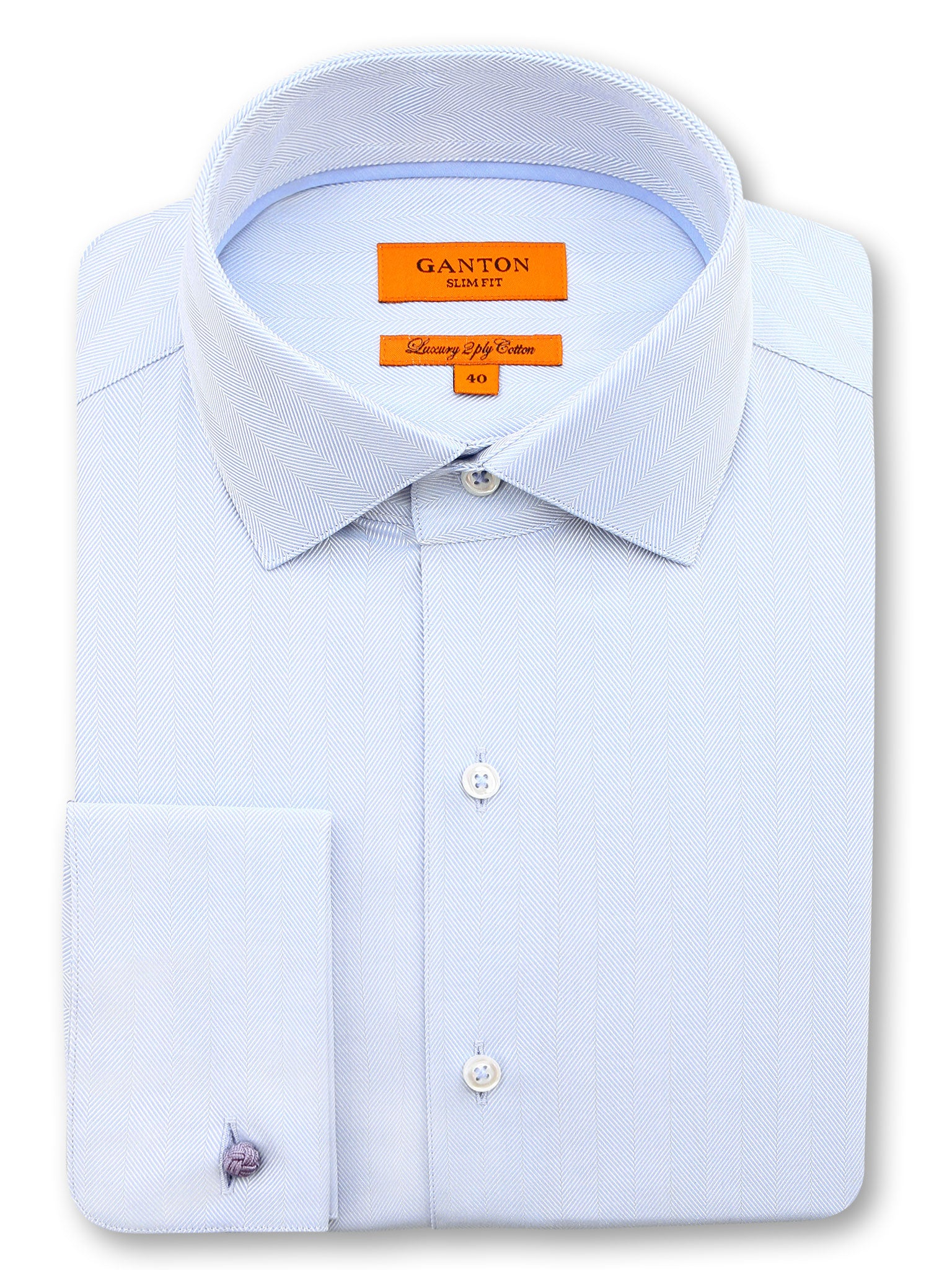 All Light Blue Textured Slim Fit Bryson Luxury 2 Ply Cotton Shirt