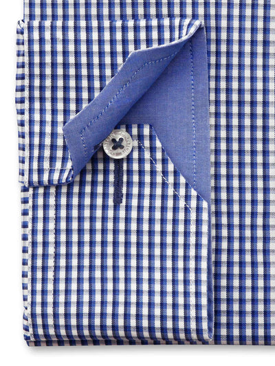 Blue White Check City Tailored Fit Blair Wash Wear Swiss Cotton Shirt