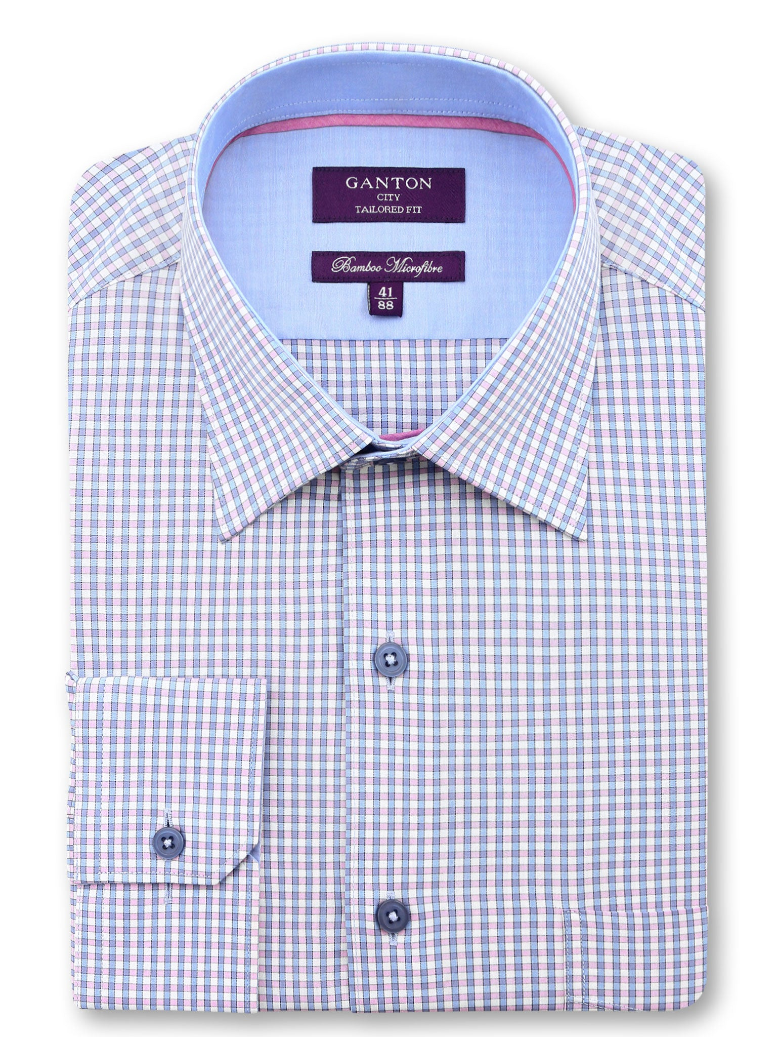 Blue Pink Check Tailored Fit Ashton Bamboo Microfibre Shirt