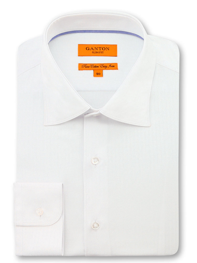 All White Textured Slim Fit Bob Cotton Polyester Shirt