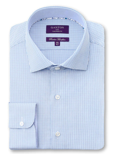 Blue Check Tailored Fit Basil Bamboo Microfibre Shirt