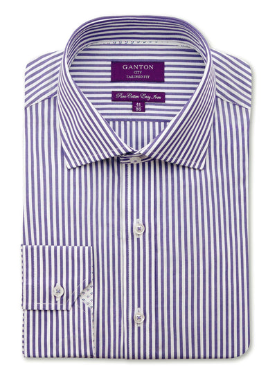 Purple White Stripe Tailored Fit Joel Easy Iron Pure Cotton Shirt