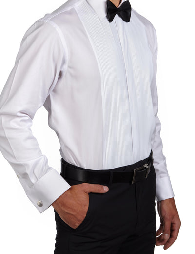 White Classic Fit Alexander Luxury 2 Ply Cotton Pleated Dinner Shirt