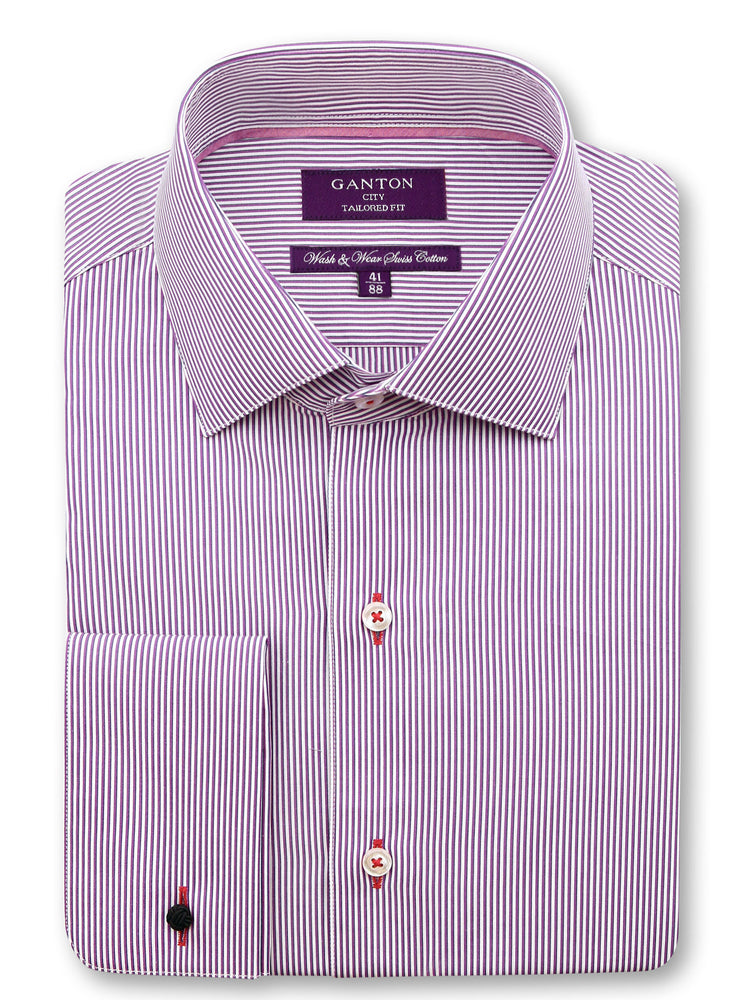 Purple Pink Stripe Harris Wash & Wear Easy Iron Cotton Shirt